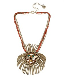 """Lion Pendant Necklace in Gold-tone Metal, 15"""" + 3"""" Extender"""
