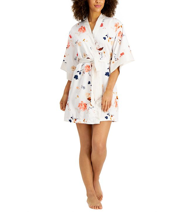 INC International Concepts INC Contrast-Trim Floral Satin Wrap Robe, Created for Macy's