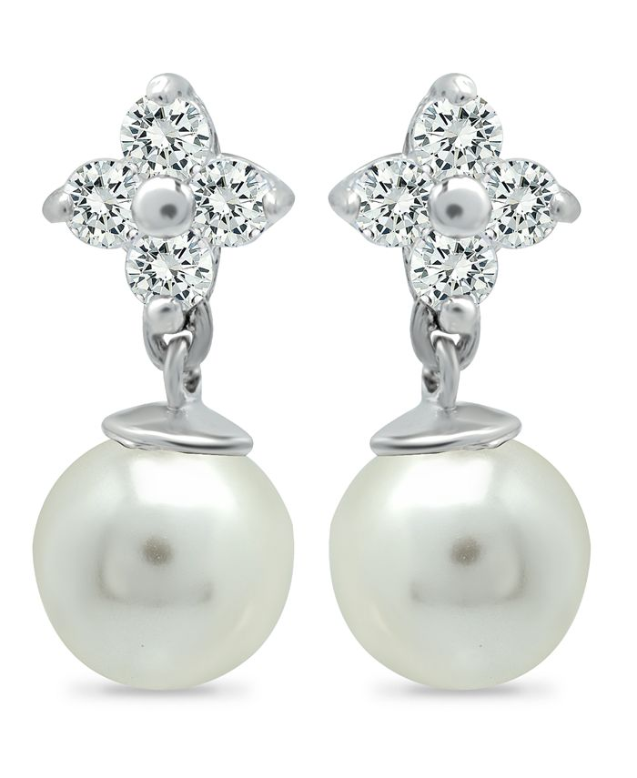 Macy's - Imitation Pearl and Cluster Cubic Zirconia Drop Earrings Crafted in Fine Silver Plate