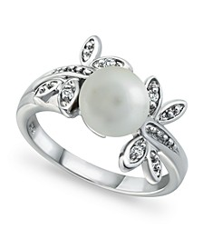 Imitation Pearl Cubic Zirconia Dragonfly Ring in Fine Silver Plate