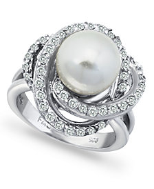 Imitation Pearl and Cubic Zirconia Pave Swirl Ring in Fine Silver Plate
