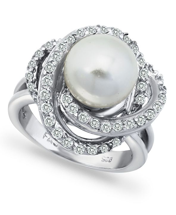 Macy's Imitation Pearl and Cubic Zirconia Pave Swirl Ring in Fine Silver Plate