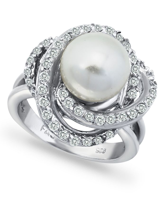 Macy's - Imitation Pearl and Cubic Zirconia Pave Swirl Ring in Fine Silver Plate