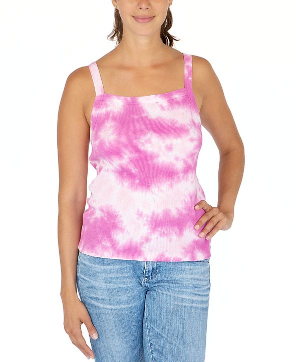 Rebellious One Juniors' Cloud Tie-Dyed Ribbed Tank Top