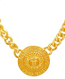 "Gold-Tone Sun Disc Pendant Necklace, 16-1/2"" + 2-3/4"" extender"