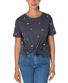 Juniors' Cotton Lightning-Print Knot-Front T-Shirt