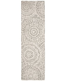 """Abstract 205 Ivory and Gray 2'3"""" x 8' Runner Area Rug"""