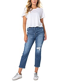 Ripped Cropped Straight-Leg Jeans