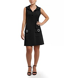 Scuba Crepe Grommet Pocket Dress