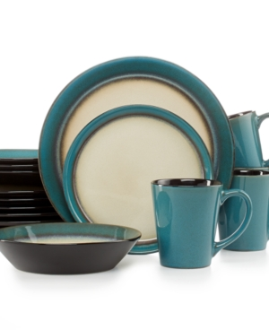 Pfaltzgraff Everyday Dinnerware Aria Teal 16Pc Set Service for 4