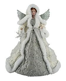 "16"" Silver Snowfall Angel Tree Topper"