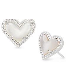 Stone Heart Stud Earrings
