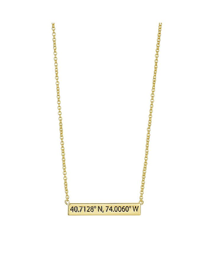 "Unwritten - Gold Flash Plated New York City Coordinates Bar Pendant, 16""+2"" Extender"
