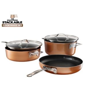 Gotham Steel StackMaster Aluminum Ultra-Nonstick Cast Textured Ceramic Coating 5-Pc. Cookware Set