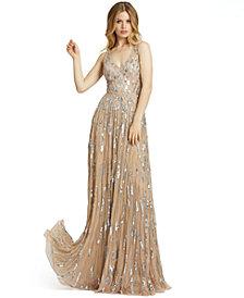 MAC DUGGAL V-Neck Sleeveless Embellished Gown