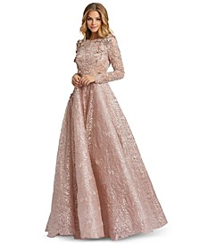 Long-Sleeve Embellished Ball Gown