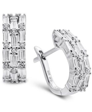 Cubic Zirconia Baguette Hoop Earrings in Sterling Silver