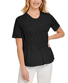 DKNY Ruched Short-Sleeve Top