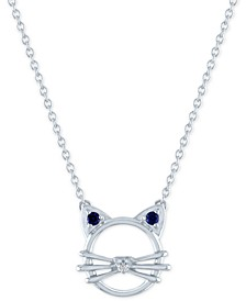 """Lab-Created Sapphire (1/20 ct.t.w.) & Diamond Accent Cat Pendant Necklace in Sterling Silver, 16"""" + 2"""" extender"""