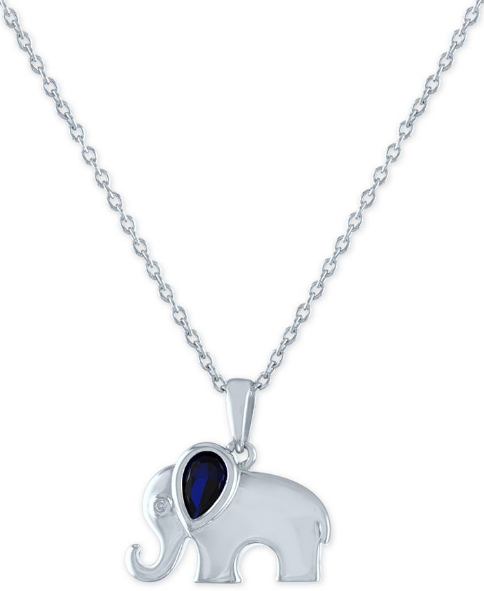 """Macy's - Lab-Created Sapphire (1/2 ct. t.w.) & Diamond Accent Elephant Pendant Necklace in Sterling Silver, 16"""" + 2"""" extender"""