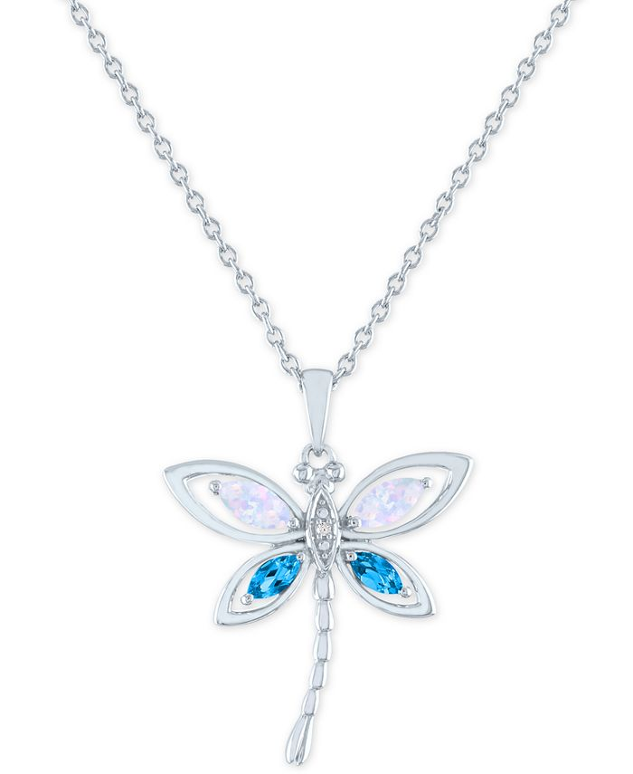 """Macy's - Lab-Created Opal (1/8 ct.t.w.), Blue Topaz (1/10 ct. t.w.) & Diamond Accent Dragonfly Pendant Necklace in Sterling Silver, !6"""" + 2"""" extender"""