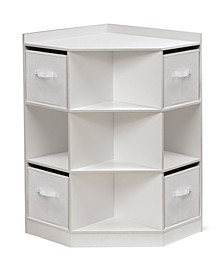 Corner Cubby Storage Unit with Four Reversible Baskets