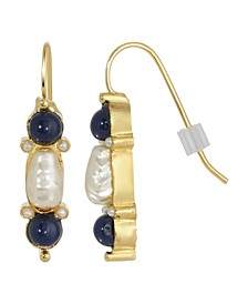 Gold-Tone Imitation Pearl and Drop Earrings