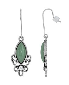 Sterling Silver Wire Genuine Stone Indian Aventurine Earrings