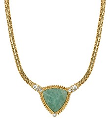 Gold-Tone Semi Precious Triangle Stone Necklace