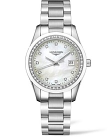 Women's Swiss Conquest Classic Diamond (3/8 ct. t.w.) Ceramic & Stainless Steel Bracelet Watch 36mm