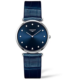 Women's Swiss La Grande Classique De Longines Diamond Blue Alligator Leather Strap Watch 33mm