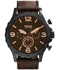 Men's Nate Brown Leather Strap Watch 50mm