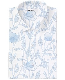 Men's Classic/Regular-Fit Performance Stretch Large Poppy-Print Dress Shirt, Created for Macy's