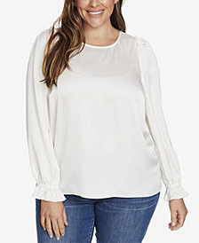CeCe Women's Plus Long Sleeve Satin Texture Blouse with Ruffle Sleeves
