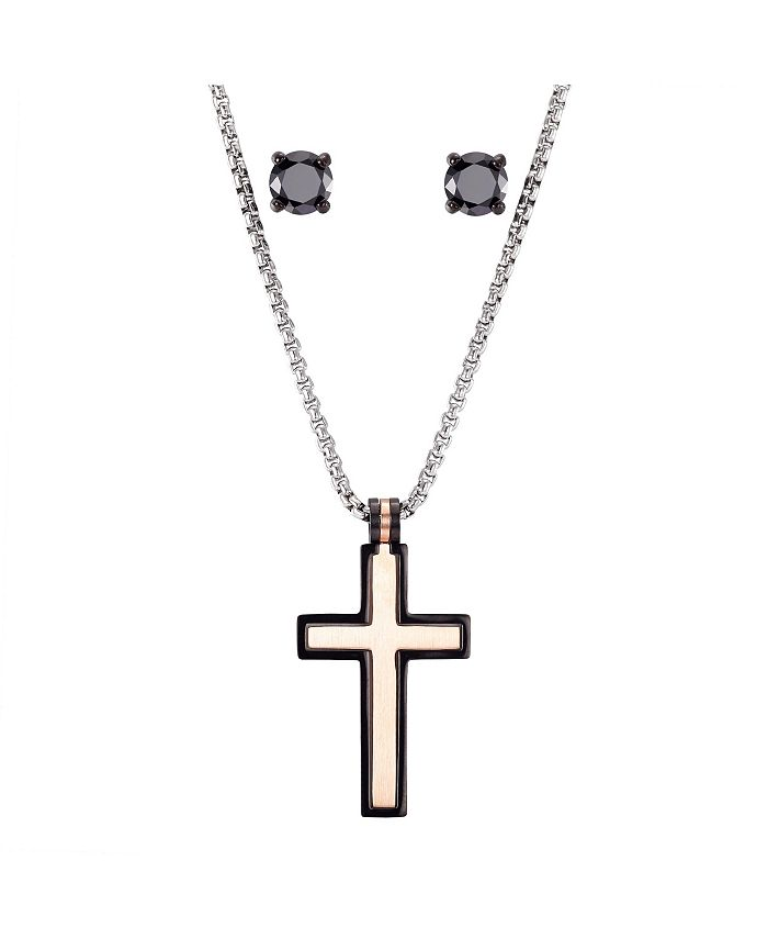 """He Rocks - Stainless Steel Two-Tone Cross Pendant and Black Tone Round Cubic Zirconia Earring Set, 24"""""""