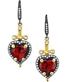 Disney's Cubic Zirconia Snow White Dagger Heart Drop Earrings in Black Rhodium- & 18k Gold-Plated Sterling Silver