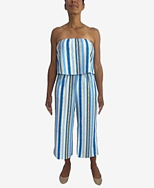 Juniors' Striped Popover Jumpsuit
