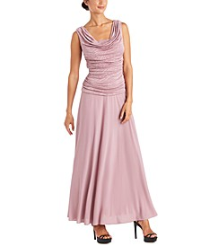 Petite Ruched Glitter-Embellished Gown