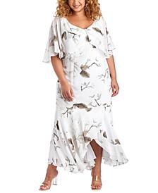 Plus Size Floral-Print Capelet Gown