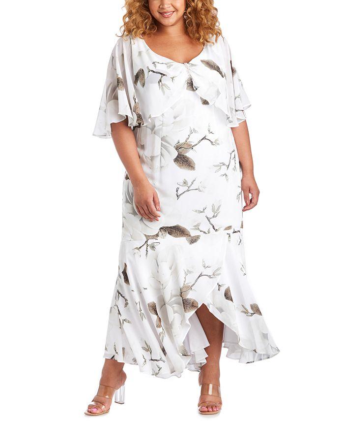 R & M Richards - Plus Size Floral-Print Capelet Gown