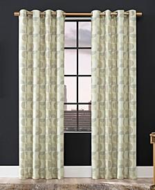 "Drake Mid-Century Geometric Semi-Sheer Grommet Curtain Panel, 96"" x 50"""