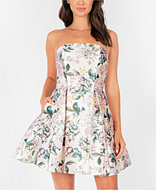 Speechless Juniors' Strapless Floral-Print Fit & Flare Dress