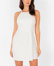 Lace-Back Shiny Bodycon Dress