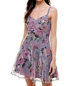 Juniors' Floral Sequin Fit & Flare Dress