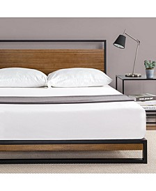 Suzanne Metal and Wood Platform Bed with Headboard, King