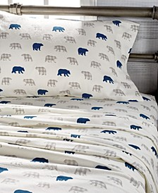 Plaid Bear Print Cotton Flannel Sheet Sets