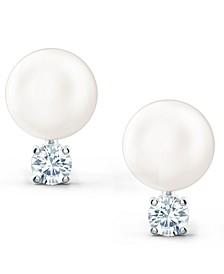 Silver-Tone Crystal & Imitation Pearl Stud Earrings