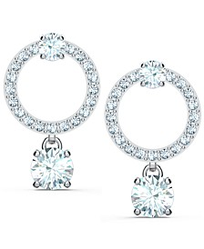 Silver-Tone Crystal Circle & Charm Drop Earrings
