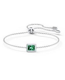 Silver-Tone Green Crystal Rectangular Slider Bracelet