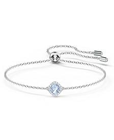 Silver-Tone Cushion-Crystal Slider Bracelet